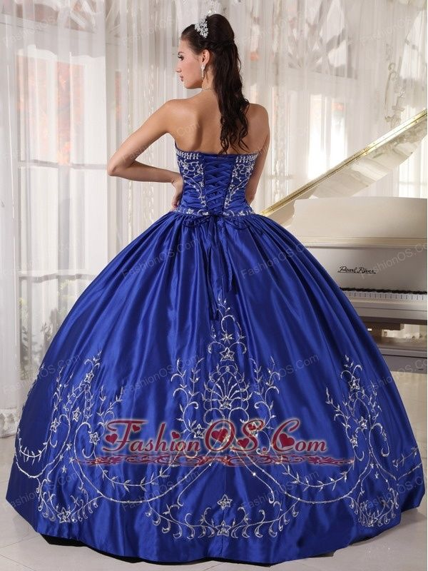 f7080c7e20 Popular Blue Quinceanera Dress Strapless Satin Embroidery Ball Gown ...