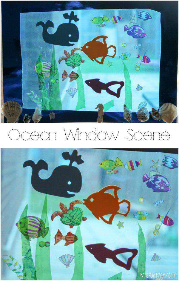 Ocean Scene Window Art For Kids Art For Kids Underwater Crafts