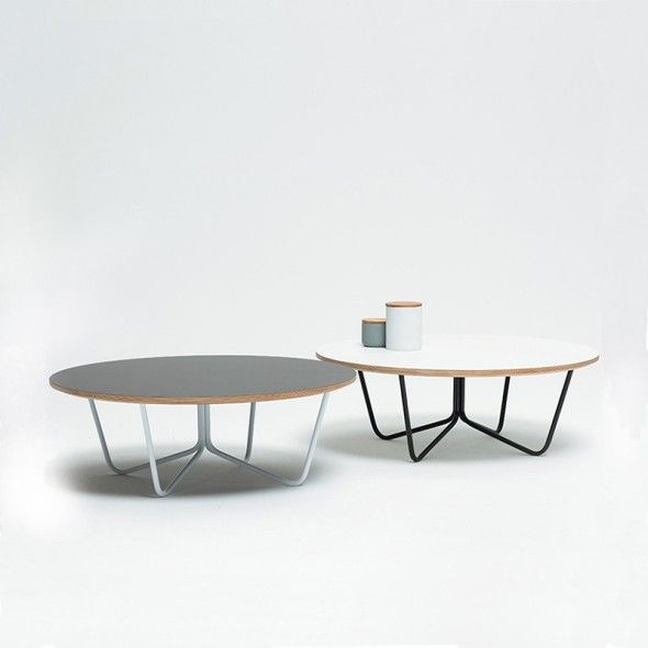 North Coffee Table White Top Black Legs Round