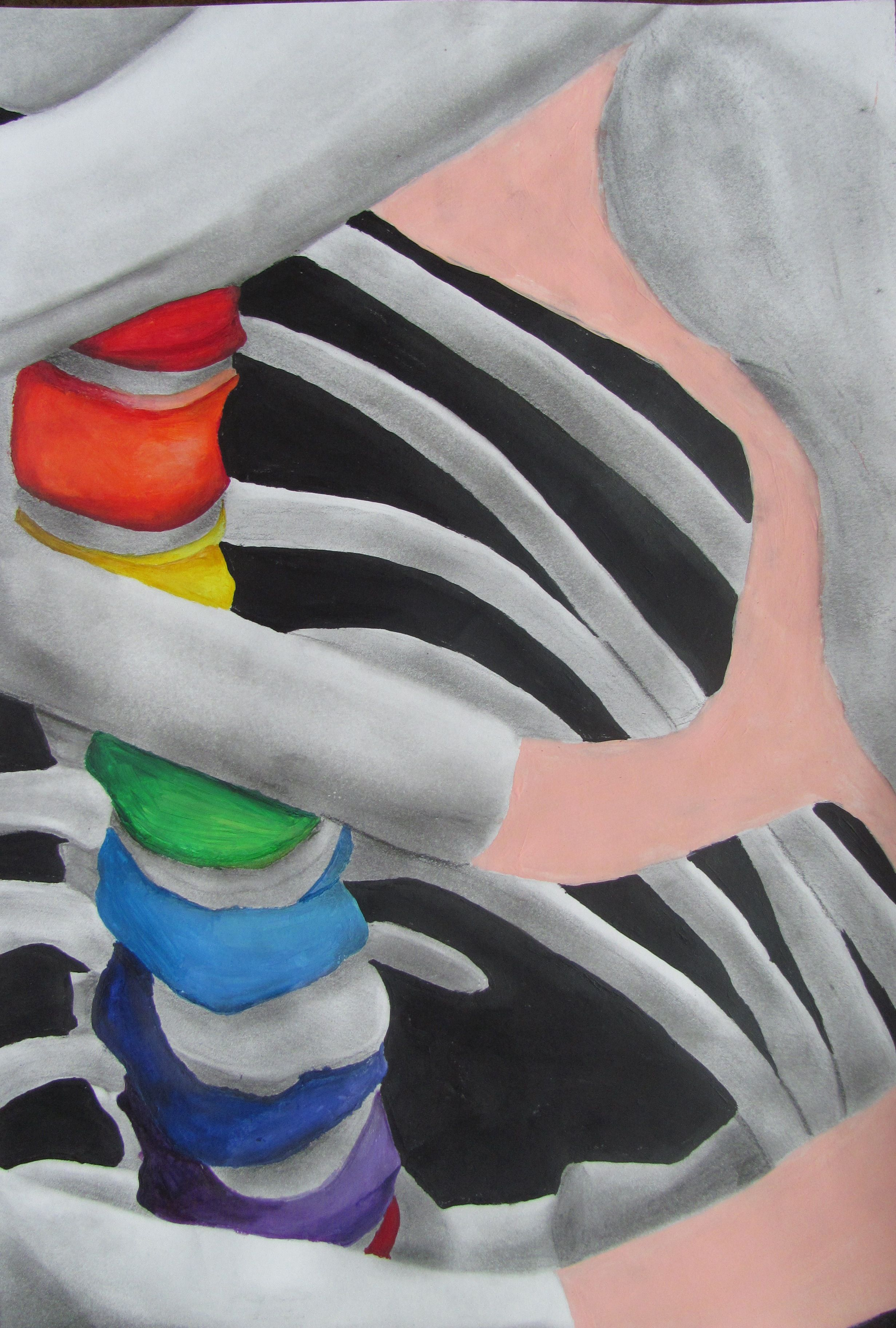 Color value art projects - Skeletal Study Conway High School Art Project