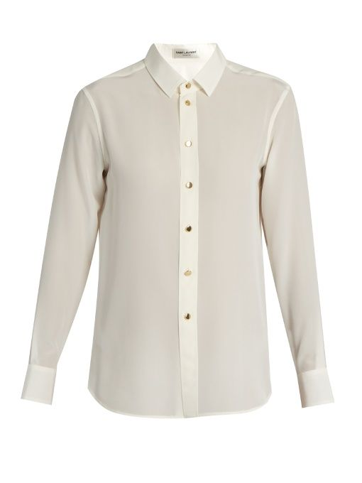 Affordable Cheap Price Silk Crepe De Chine Shirt - White Saint Laurent Low Cost Cheap Price Real rLSk16u1