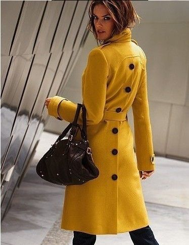 jaune moutarde cachemire mode slim taille dames sexy vêtements d extérieur  femmes trench, manteau en laine femmes zx0300(China (Mainland)) ae5b17c4766