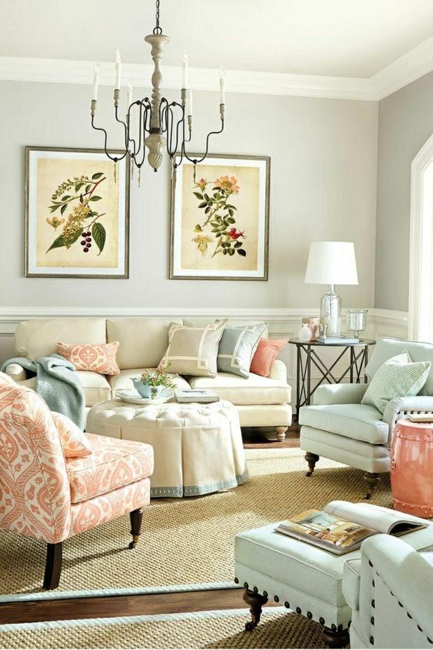 Wohnzimmer Wohnideen Wandfarben beige Pastellfarben Einrichtung - farben ideen fr wohnzimmer