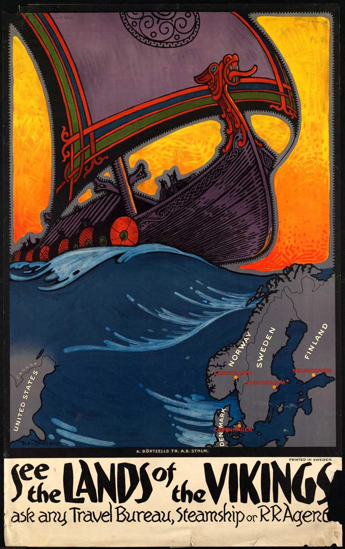 Oslo Norway Viking Icelandic Horse Vintage World Travel Art Poster Print
