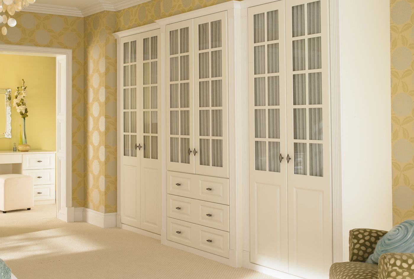 Glass panelled wardrobe doors from the concerto white bedroom