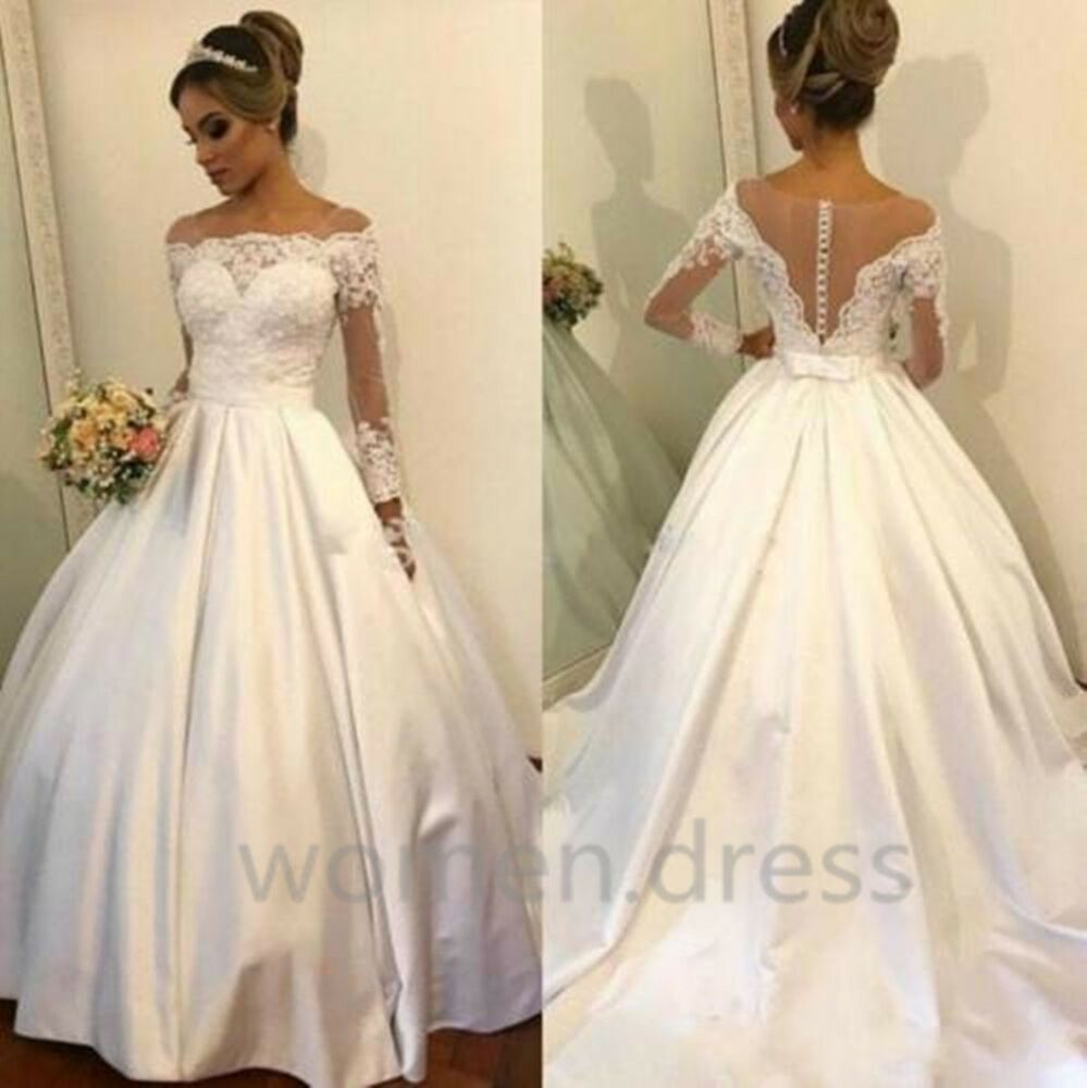 Elegant Long Sleeves Lace Satin Wedding Dresses Off Shoulders