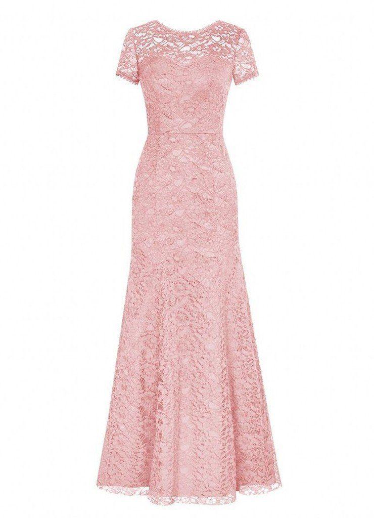 Sharon Long Lace Bridesmaid Dress Short Sleeved Evening Party Dress ...