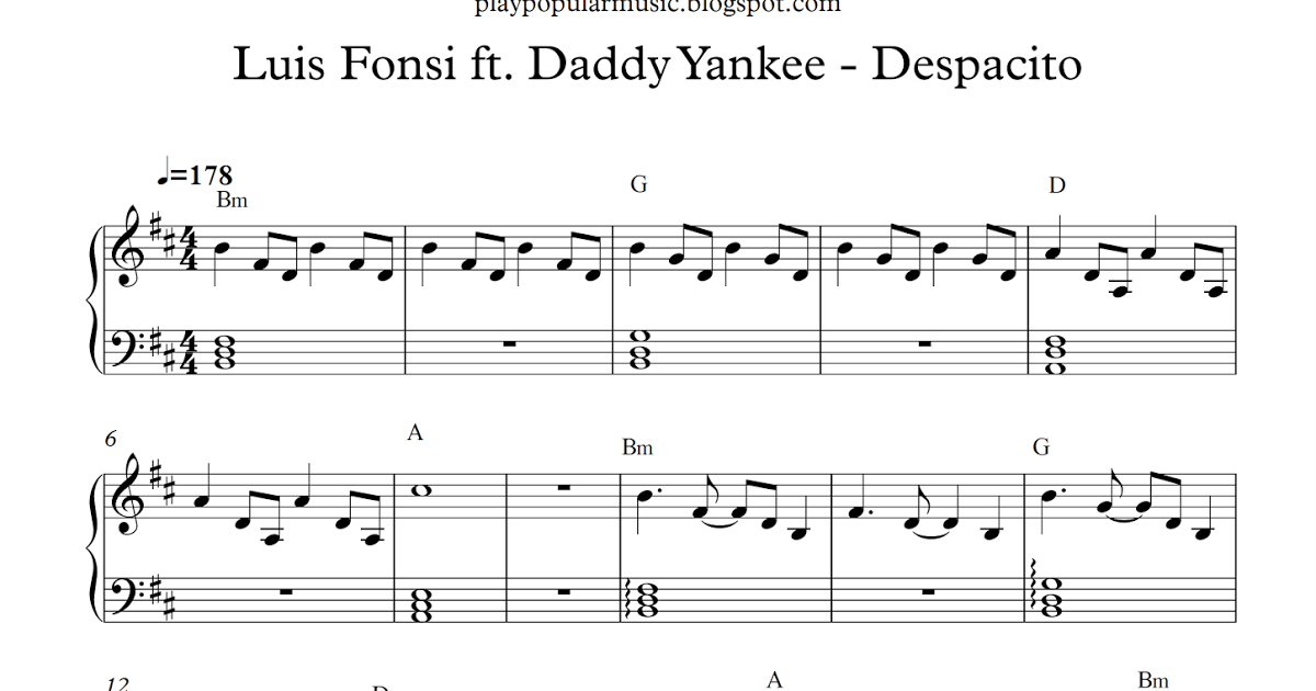 Free Piano Sheet Music Luis Fonsi Ft Daddy Yankee Despacito Pdf Yes You Know That I Ve Been Looking At Yo Piano Sheet Music Free Daddy Yankee Sheet Music