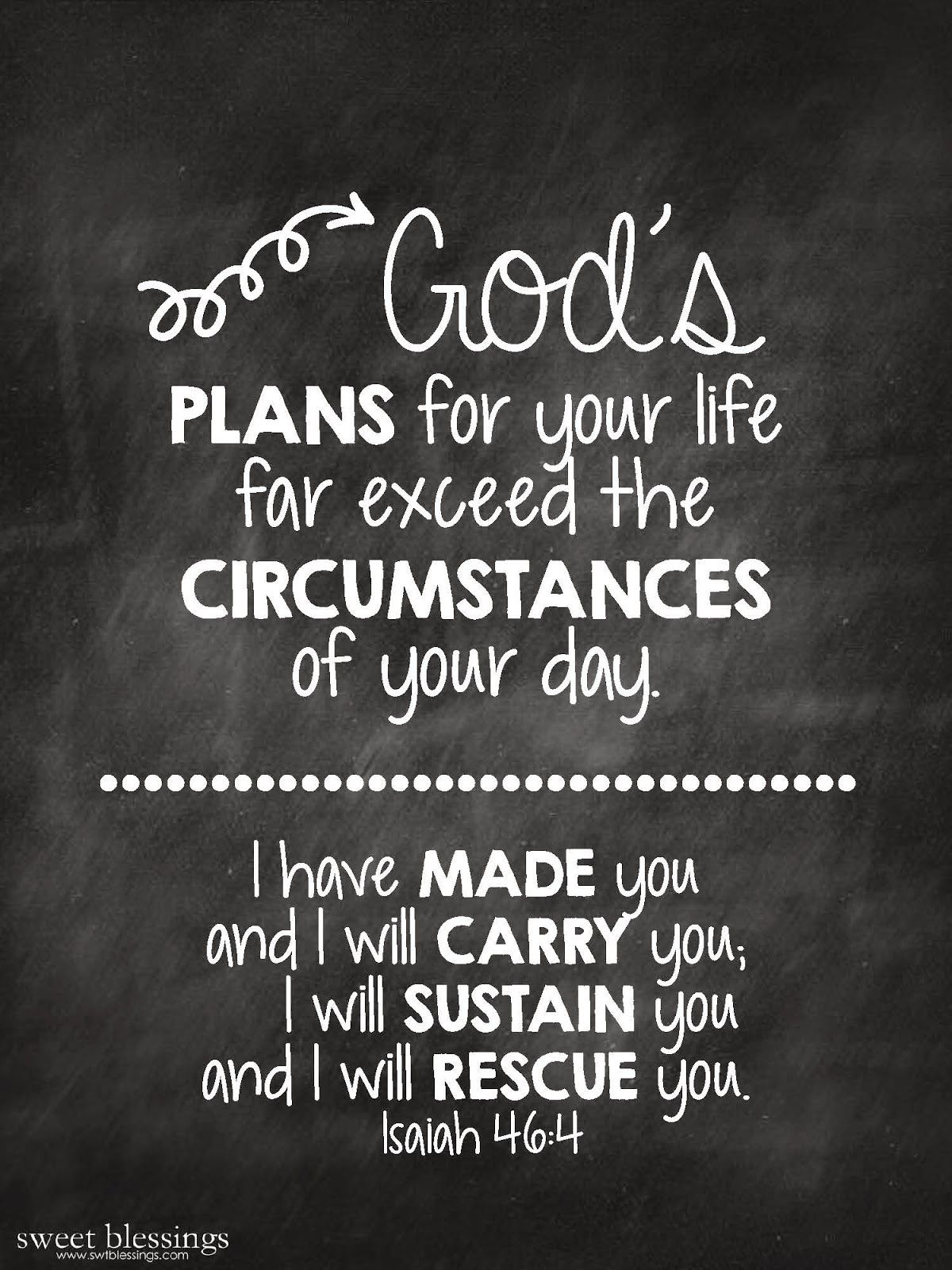 Free Chalkboard Printable: God's Plans for your life ...