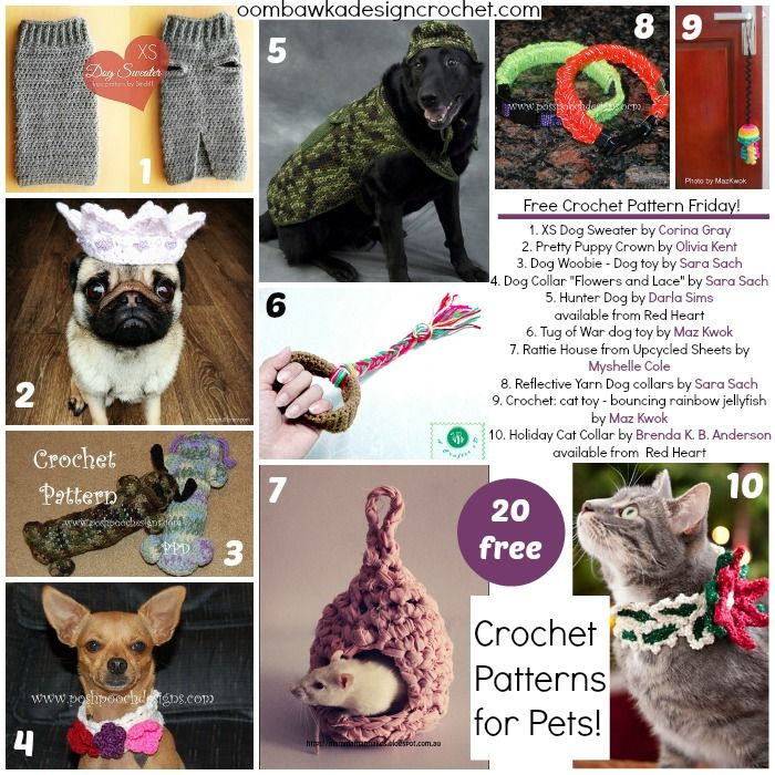 20 Free Crochet Patterns for your Pets! | Free crochet, Crochet and ...