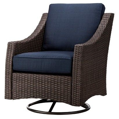 Threshold Belvedere Wicker Patio Swivel Club Chair   Navy
