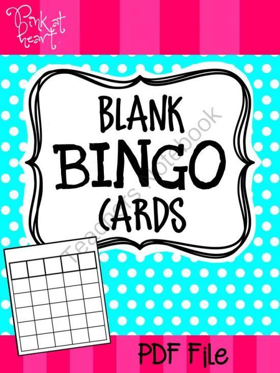 Blank Bingo Cards From Pink At Heart On TeachersnotebookCom