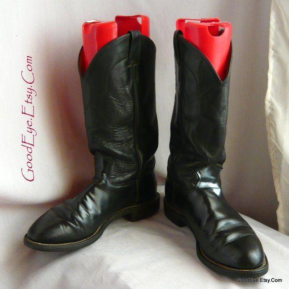Classic Black Leather JUSTIN Cowboy Roper Boots / Men size 9