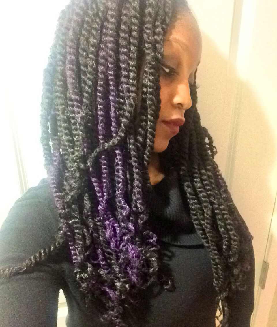 Yep! I'm pretty obsessed with my hair. Black and purple Marley twists!