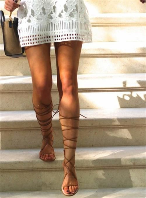 Gladiator Sandals Knee High Zipper Up Tie Flat Roman Women's