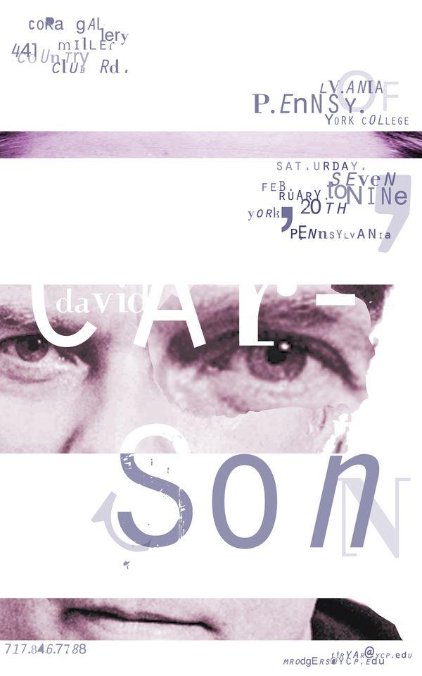 David Carson Poster & E-Vite by Brandon Murray, via Behance