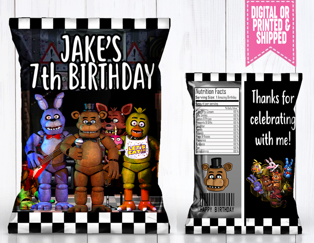 Five Nights At Freddy S Fnaf Chip Bag Chip Bags Five Night Chip Bag
