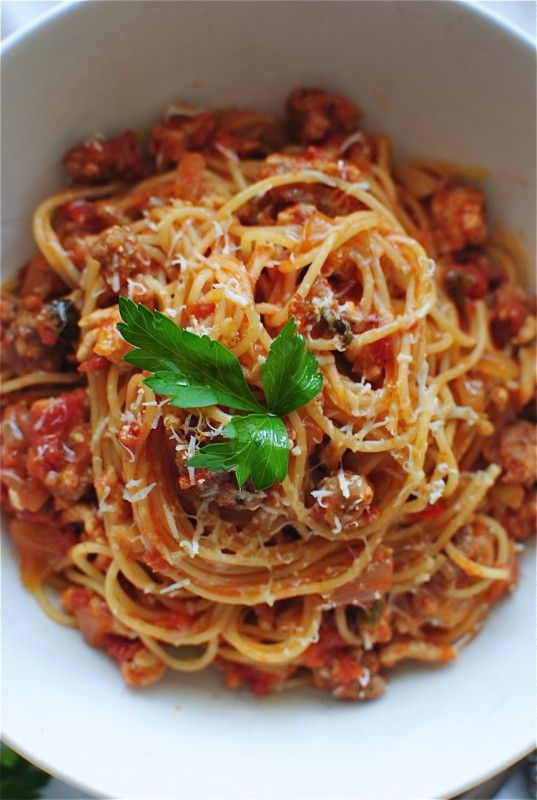Angel Hair With A Tomato Meat Sauce Pasta Recipes Pasta Angel