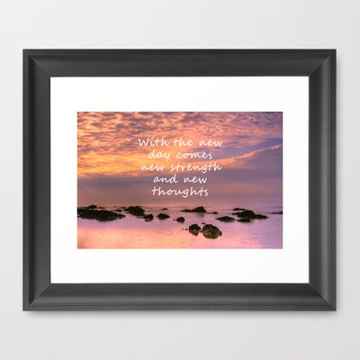 A New Day Framed Art Print by Alice Gosling - $37.00 #print #canvas #framedprint #artwork #walldecor #homedecor #newday #saying #quote #beach #sunrise #sunset #rocks #ocean