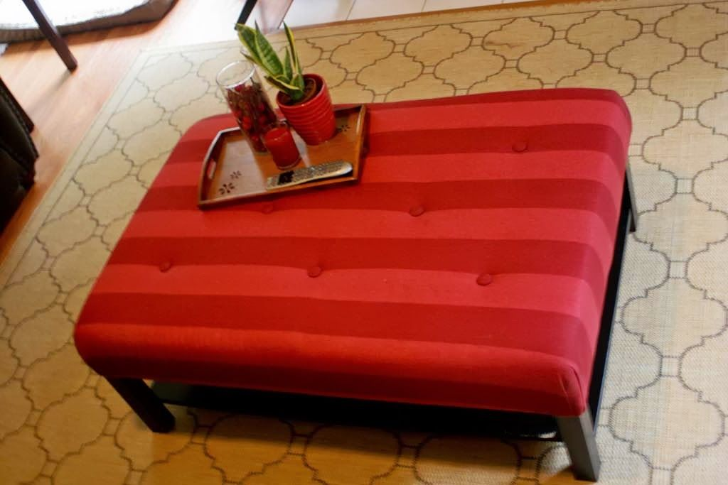 Materials: Lack Coffee Table Description: I had an old Lack coffee table but I really wanted an upholstered ottoman. Since it was the right size, I just decided to see if I could turn what I had into what I wanted. I knew I wanted mine to be thick, so I waited until the 5″ [&hellip