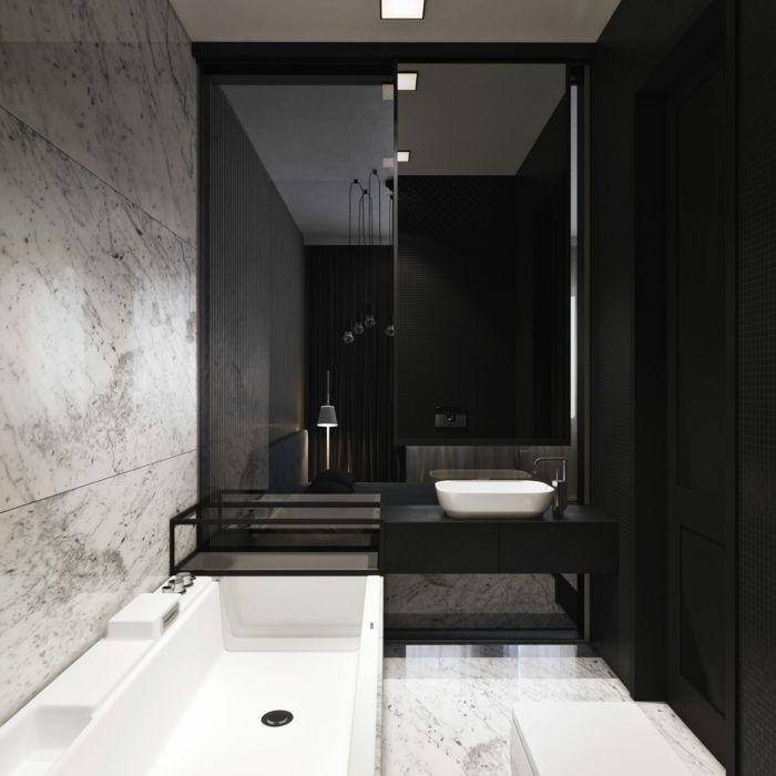 Badezimmer schwarz weiß edel Badezimmer Ideen u2013 Fliesen - badezimmer ideen wei