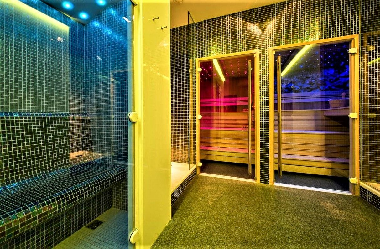 Hammam And Finnish Sauna With Glass Doors Led Background And