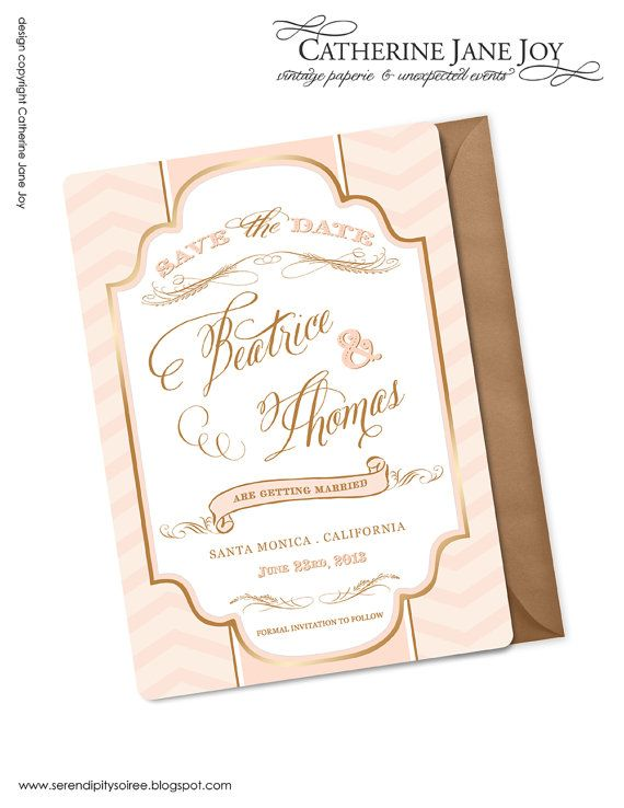 Salmon Pink And Gold Luxe Save The Date Custom Printable