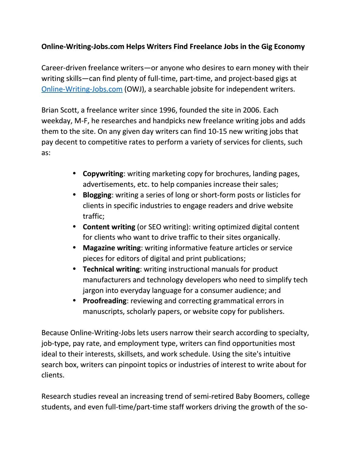 online writing jobs com helps writers lance jobs in the online writing jobs