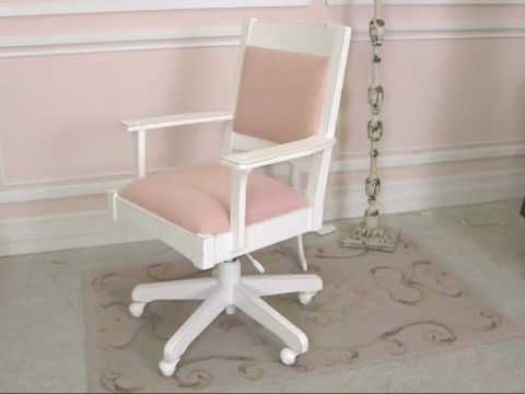 Shabby Cottage Chic Pink Linen Swivel Office Chair The Bella