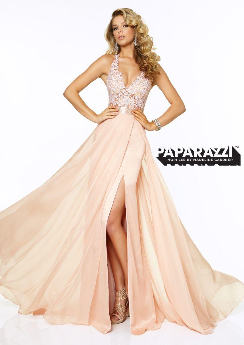 Flirty lace chiffon halter prom dress in blush paparazzi by mori