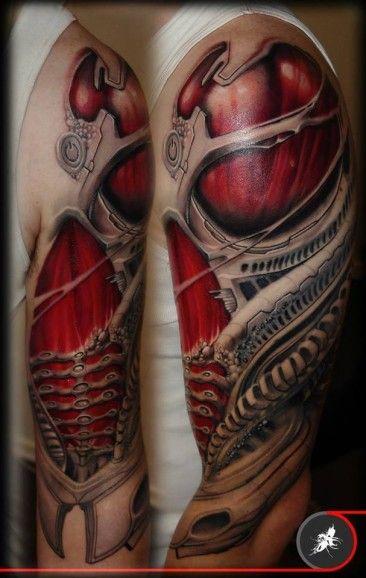 Biomechanika Z Mięśniami Na Wierzchu Tattoo Tatuaż