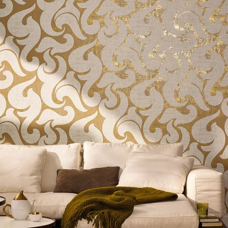 Beige And Golden Figural Wallpaper And Comfy Sofa