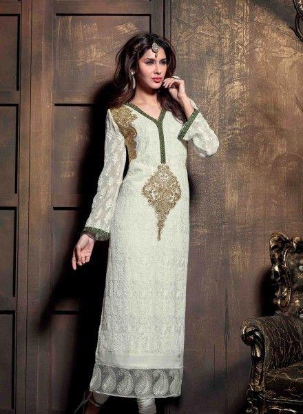 Off White latest Punjabi churidar kameez suit in georgette E15440