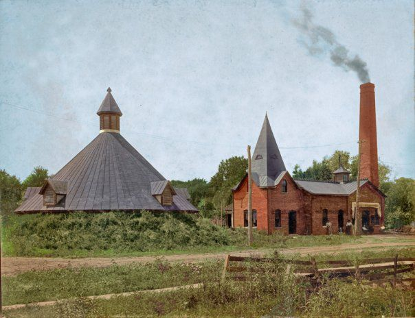 The waterworks in Monmouth, Illinois, circa 1897 at the northwest corner of North 6th Street and East Clinton Ave.. The pump was powered by a coal-fired engine. (I colorized the photo.)