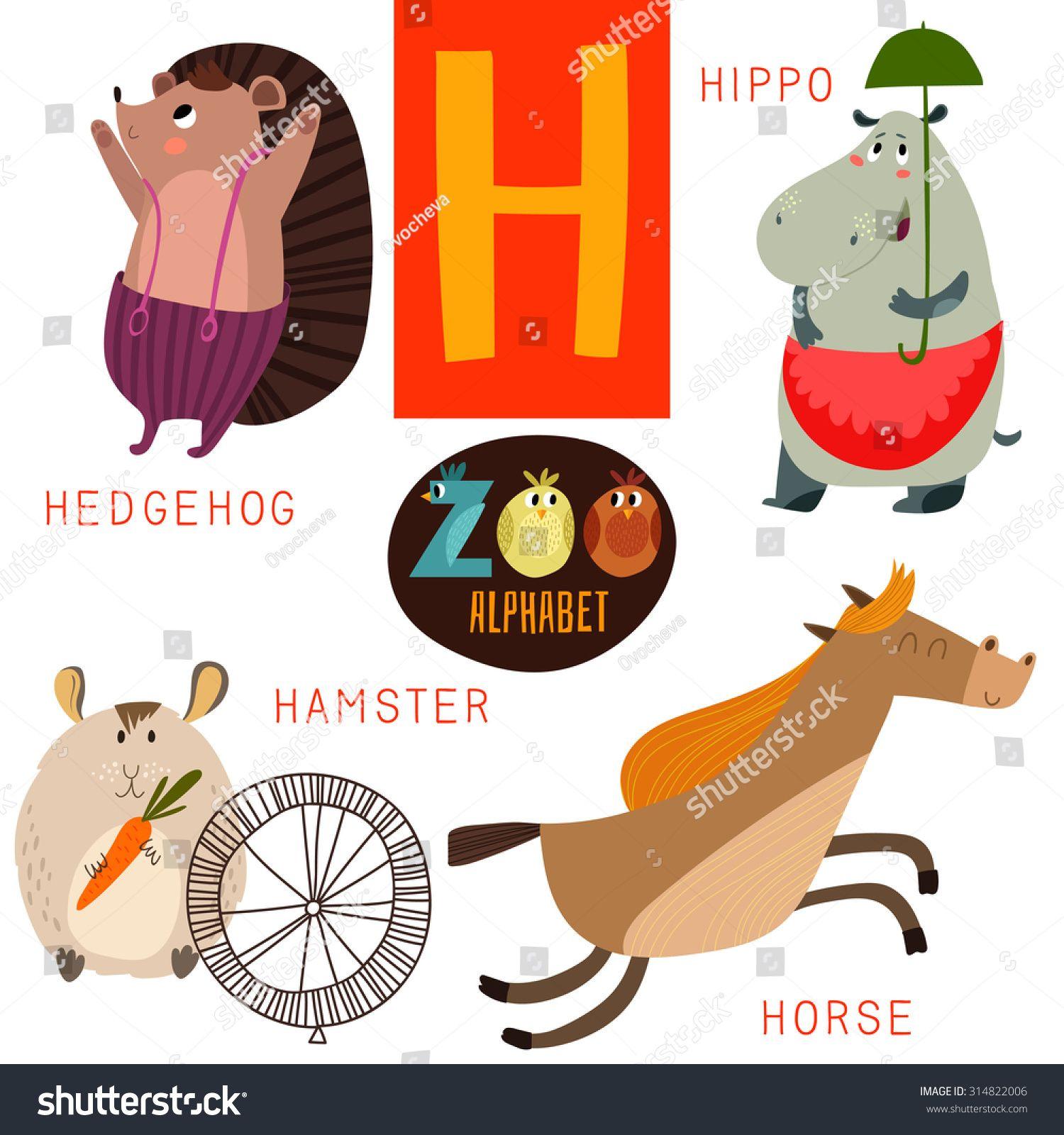 Cute Zoo Alphabet In Vector H Letter Funny Cartoon