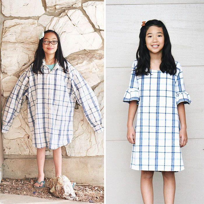 Eski ve Çirkin Giysileri Yepyeni ve Modern Elbiselere Çeviren Yetenekli Anne