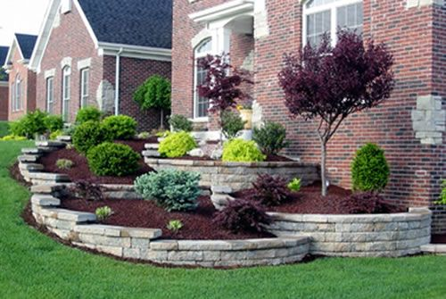 Pin By Erin Fossum On My Home One Day Front Yard Landscaping Design Lawn And Landscape Tiered Landscape
