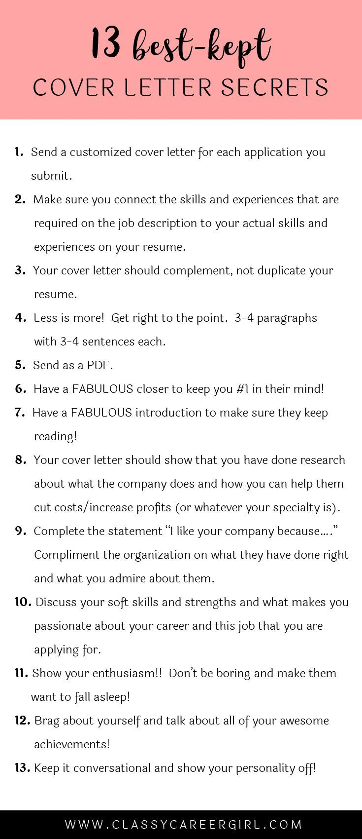 Cover Letter Advice Stunning The 13 Bestkept Cover Letter Secrets  Small Things Career Inspiration