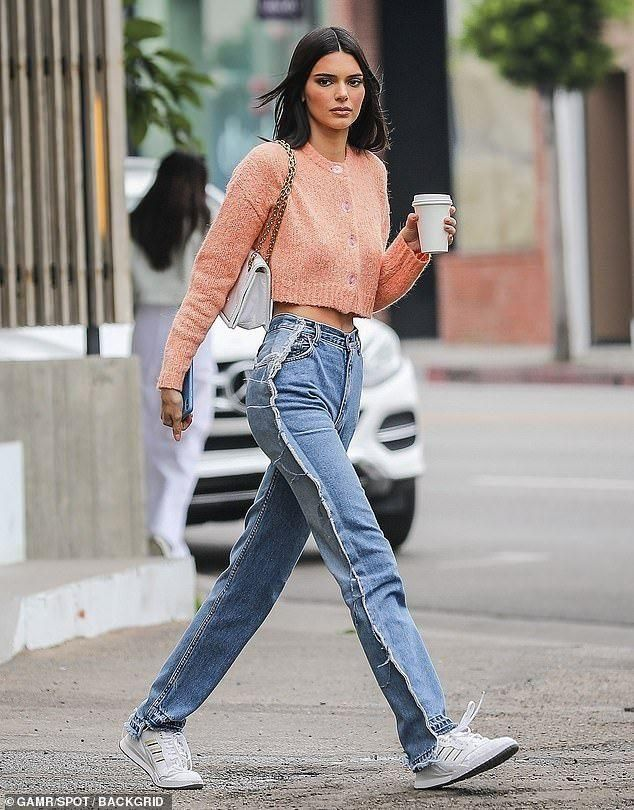 Kendall Jenner flaunts her tiny waist in cropped coral sweater #fitness #tiny #waist #coral #jenner...