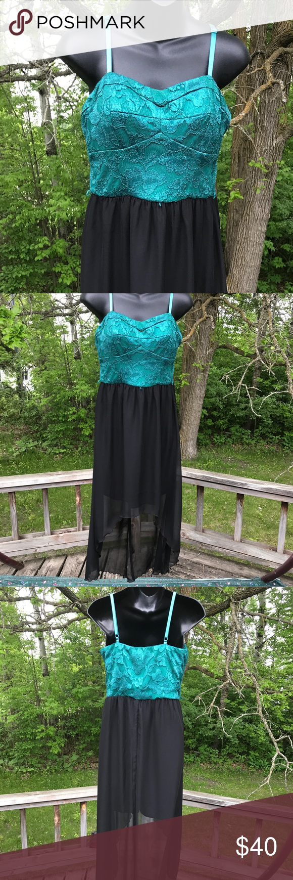 Hi-Lo Prom Dress Green and black hi-lo prom or formal dress. Spaghetti straps, Lily Rose, size L. #black #green #emerald #cute #hilo #prom #classy #formal #dress Lily Rose Dresses High Low