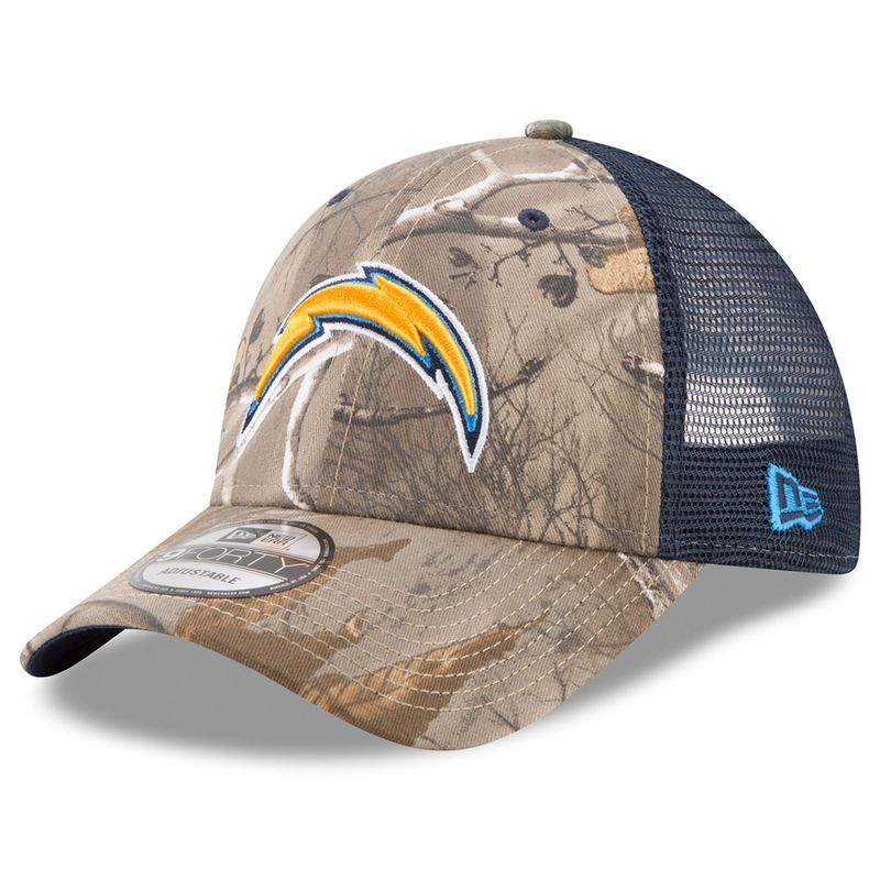 the latest 29516 67e6e Los Angeles Chargers New Era Trucker 9FORTY Adjustable Hat – Realtree Camo  Navy