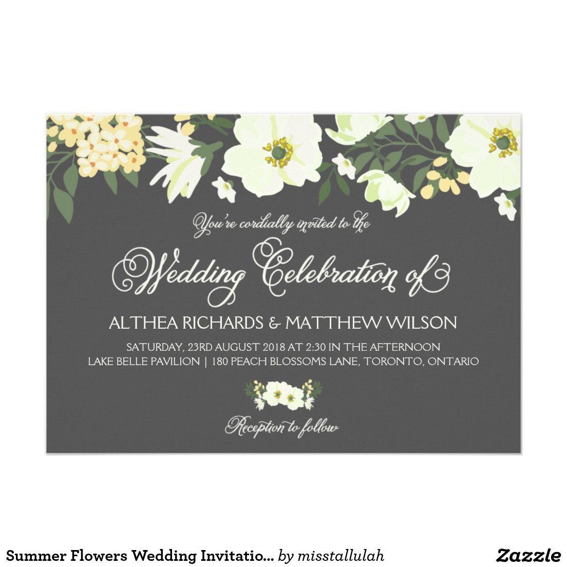 Summer Flowers Wedding Invitation | Yellow & Gray