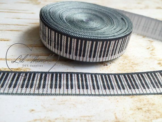 1 yard piano keys 5/8 inch fold over elastic hair by LilThimble