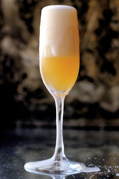 The Moonwalk: grapefruit, Grand Marnier, rosewater, and Champagne. It was the first drink Neil Armstrong had after returning to Earth from the Moon.