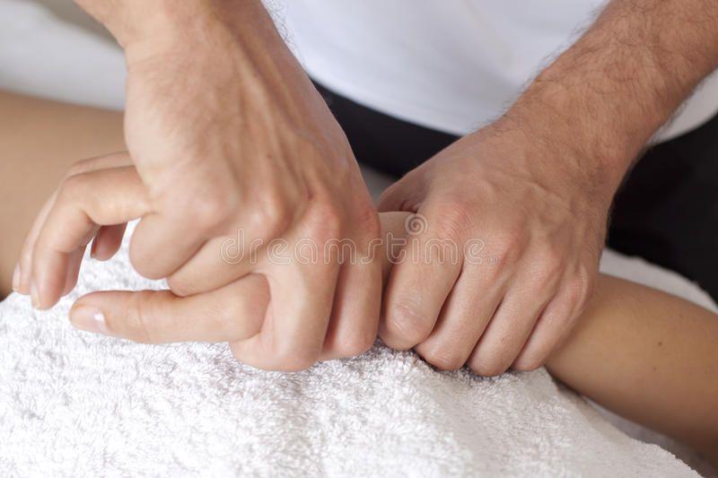Hand massage. Give a hand massage to a client ,