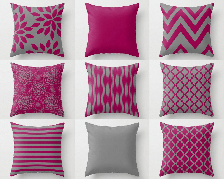 Fuchsia Pillow Covers Fuchsia Grey Pillows Accent Pillow Covers