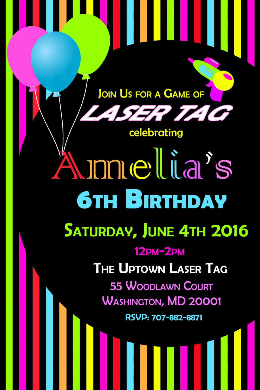 Laser Tag Invitation, Rainbow Birthday Invitation