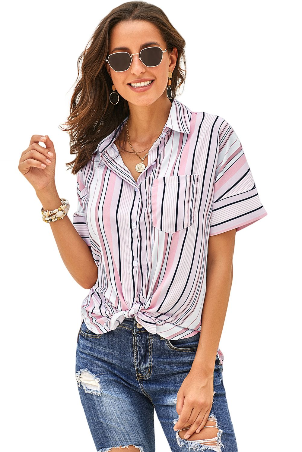 Pink gingham play button down shirt with images plaid