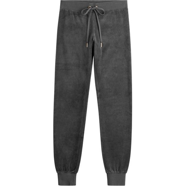 Juicy Couture Velour Track Pants ($150) ❤ liked on Polyvore featuring activewear, activewear pants, grey, juicy couture, track pants and juicy couture sportswear