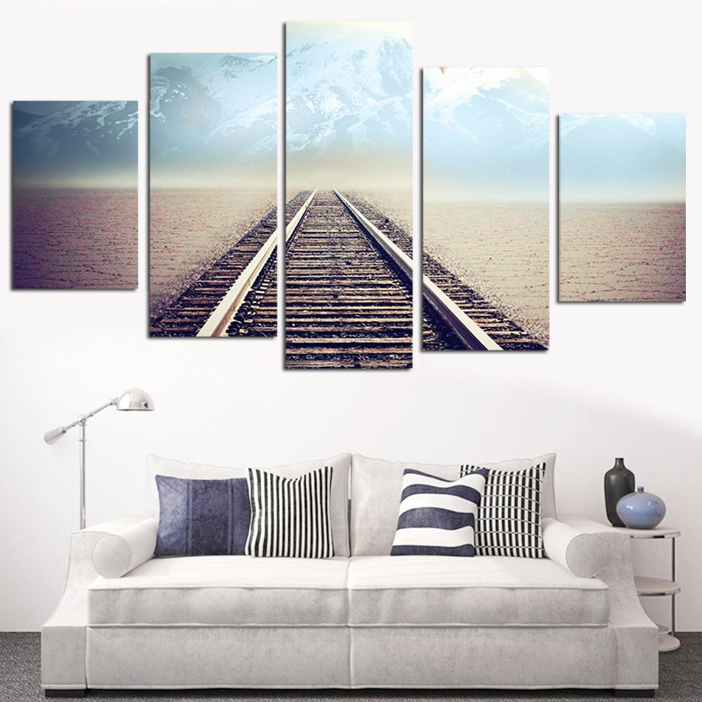 No frame oil painting railway picture canvas painting modern wall